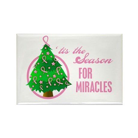 BreastCancer XmasMiracle Rectangle Magnet (100 pac