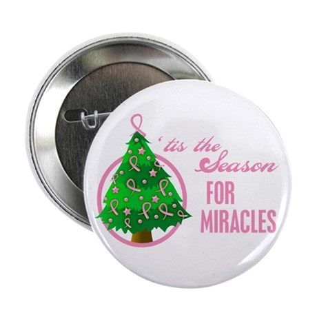 BreastCancer XmasMiracle 2.25&quot; Button (10 pack)