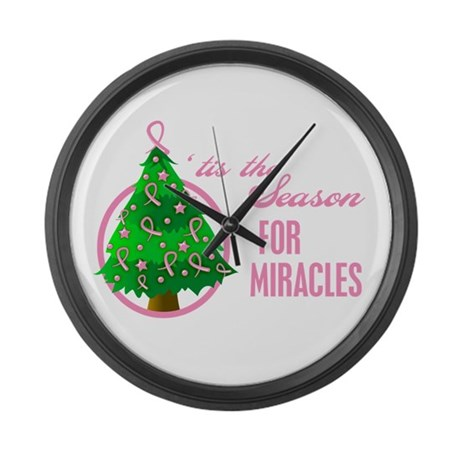 BreastCancer XmasMiracle Large Wall Clock