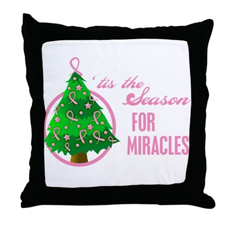 BreastCancer XmasMiracle Throw Pillow