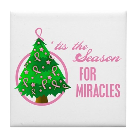 BreastCancer XmasMiracle Tile Coaster