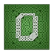 """Green Celtic Knot Number"" Tile Coaster"