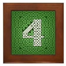 """Green Celtic Knot Number"" Framed Tile"