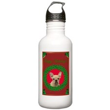 Happy Holidays French Bulldog Water Bottle