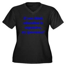 Education quote (blue) Women's Plus Size V-Neck Da