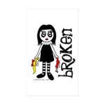 Broken Goth Doll Sticker (Rectangle 10 pk)