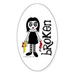 Broken Goth Doll Sticker (Oval 10 pk)