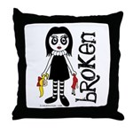 Broken Goth Doll Throw Pillow