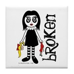 Broken Goth Doll Tile Coaster