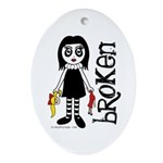 Broken Goth Doll Ornament (Oval)