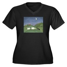 Cute Sheep Women's Plus Size V-Neck Dark T-Shirt