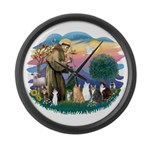 St Francis (ff)-7 Cats Large Wall Clock