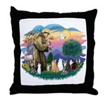 St Francis (ff)-7 Cats Throw Pillow