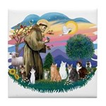 St Francis (ff)-7 Cats Tile Coaster