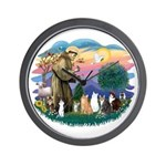 St Francis (ff)-7 Cats Wall Clock