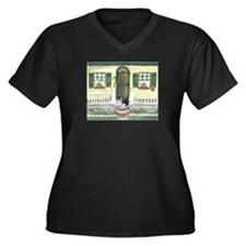 Sunny Porch Women's Plus Size V-Neck Dark T-Shirt