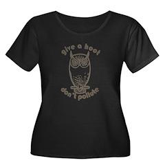 Give A Hoot Women's Plus Size Scoop Neck Dark T-Sh