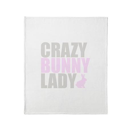 CRAZY BUNNY LADY Throw Blanket