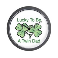 Lucky To Be A Twin Dad Wall Clock