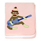 Sock Monkey Blue Guitar Infant Blanket