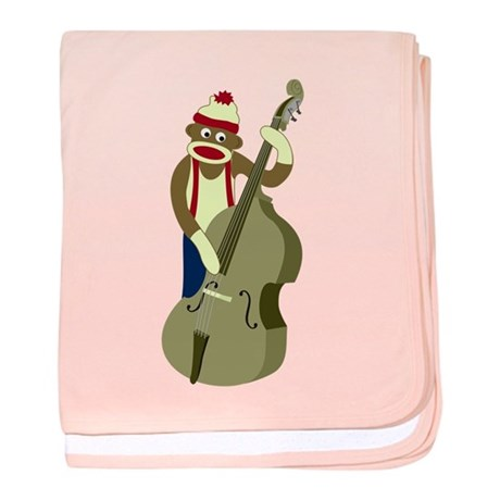 Sock Monkey Bass Player Infant Blanket