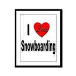 I Love Snowboarding Framed Panel Print