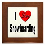 I Love Snowboarding Framed Tile