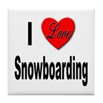 I Love Snowboarding Tile Coaster