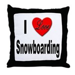 I Love Snowboarding Throw Pillow