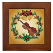 Christmas Violin Music Framed Tile Gift