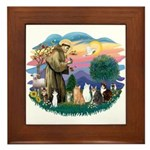 St Francis (ff)-7 Cats Framed Tile