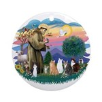 St Francis (ff)-7 Cats Ornament (Round)