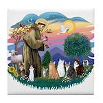 St Francis (ff)-7 Cats Tile Coaster