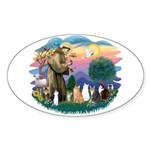 St Francis (ff)-7 Cats Sticker (Oval 10 pk)