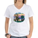 St Francis (ff)-7 Cats Women's V-Neck T-Shirt
