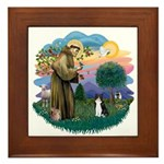 St Fran (ff) - Black/White cat Framed Tile