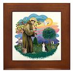 St Fran (ff) - Black/White cat Framed Tile