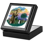 St Fran (ff) - Black/White cat Keepsake Box