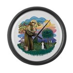 St Fran (ff) - Black/White cat Large Wall Clock