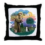 St Fran (ff) - Black/White cat Throw Pillow