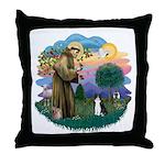 St Fran (ff) - Black/White cat Throw Pillow