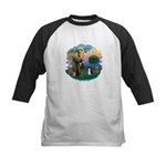 St Fran (ff) - Black/White cat Kids Baseball Jerse
