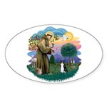 St Fran (ff) - Black/White cat Sticker (Oval 10 pk