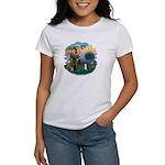 St Fran (ff) - Black/White cat Women's T-Shirt
