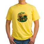 St Fran (ff) - Black/White cat Yellow T-Shirt