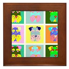 Schnauzer Pop Art Framed Tile
