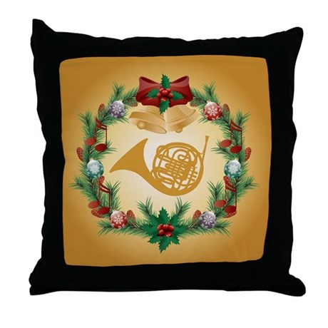 French Horn Christmas Music Throw Pillow
