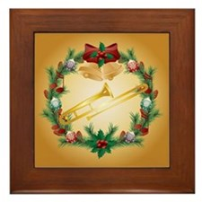 Christmas Trombone Music Framed Tile