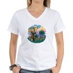 St Fran (f)-Norw. Forest Women's V-Neck T-Shirt