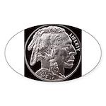 Silver Indian Head Oval Sticker